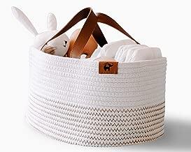 L'efante Diaper Caddy: Rope Diaper Caddy Organizer + Bonus Cosmetic Bag   XL Size 15.4'X9.8'X7.1' Storage Caddy Organizer   Nursery & Car Travel Organizer   Ideal for Baby Shower Gift