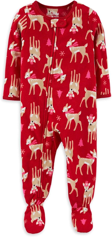 Child of Mine Red Reindeer Fleece Footed Girls Pajamas