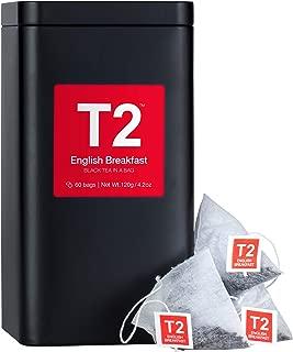 T2 Tea - English Breakfast Black, Tea Bags in Tea Caddy, 120g (4.2oz), 60 Tea Bags
