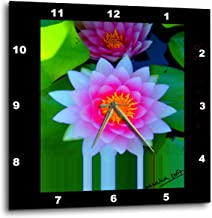 3dRose dpp_23492_1 LOTOS FLOWER Lotos Lily Meditation Waterlily Nature Lake Pond Flora Meditation Wall Clock, 10 by 10-Inch