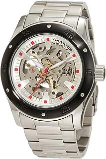 Akribos XXIV Men's AKR477BK Round Skeleton Automatic Bracelet Watch