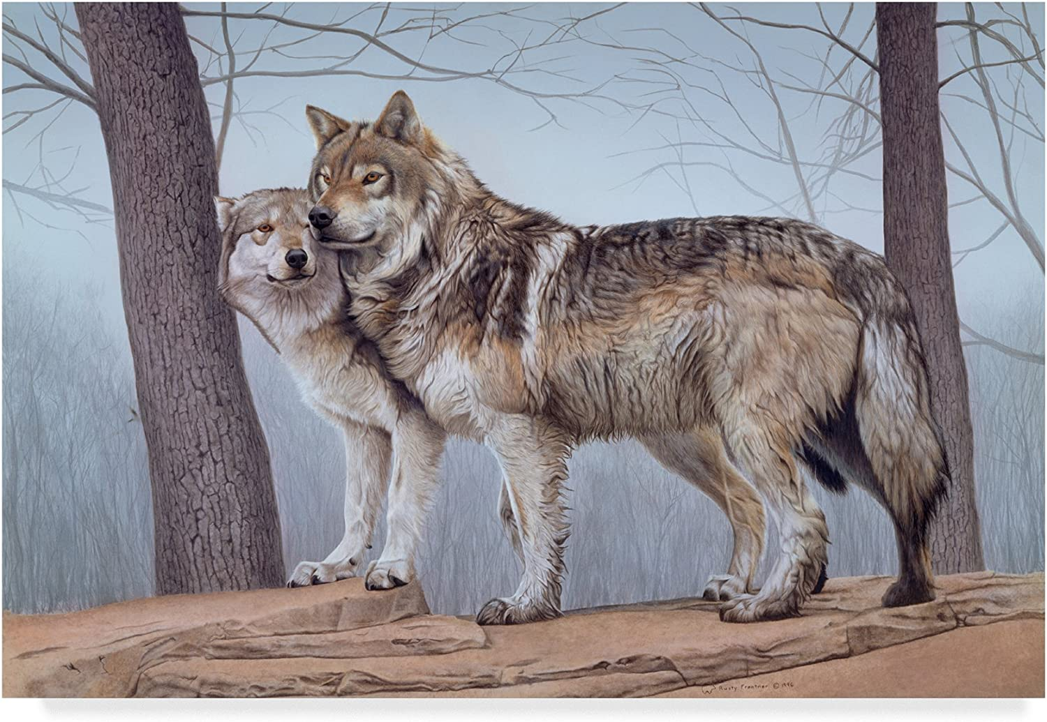 Two Wolves by Rusty Frentner, 12x19Inch