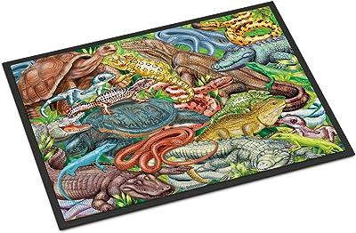 Caroline's Treasures Scales and Tails, Snakes, Turtle, Reptiles Door Mat doormats, Multicolor