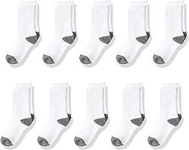 Amazon Essentials Kids' 10-Pack Cotton Crew Sock, White/Grey Heather Heel, Toe, 9 to 2 1/2