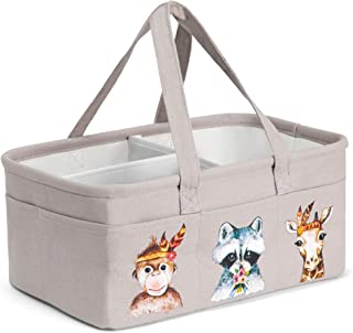 Baby Diaper Caddy Organizer with 10 Pockets, Waterproof Lining - Large, Portable Nursery Storage Basket with Removable Dividers for Diapers, Toys, Books - Babies Care Accessories