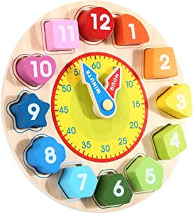 Garlictoys Wooden Shape Color Clock Puzzle-Teaching Time Sorting Number Blocks, Stacking Sorter Jigsaw Montessori Early Learning Montessori Educational Toy Gift for3+ Year Old Toddler Baby Kids