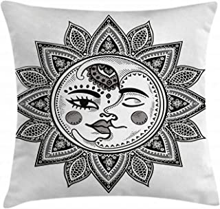 Ambesonne Sun and Moon Throw Pillow Cushion Cover by, Mandala Inspired Bohemian Tattoo Style Eclipse Figure Ancient Folkloric, Decorative Square Accent Pillow Case, 16 X 16 Inches, Black and White