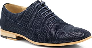 Enzo Romeo BLK02 Men's Spectator Two Tone Fashion Cap Toe Oxfords Perforated Lace Up Dress Shoes