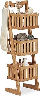 Relaxdays estantería de baño Tres estantes Multi-usos Organizador Impermeable Decorativo marrón.