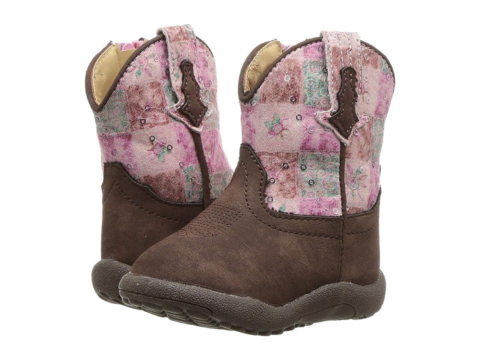 Roper Kids Floral Shine (Infant/Toddler) (Brown Faux Leather Vamp/Floral Sequin Shaft) Cowboy Boots