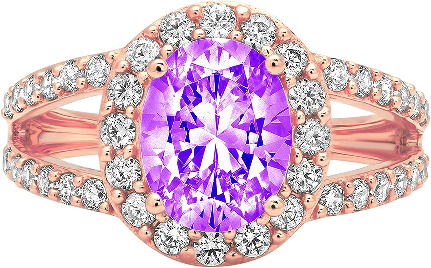 Clara Pucci 2.34 ct Oval Cut S Solitaire split shank Halo Oakland Manufacturer OFFicial shop Mall Accent