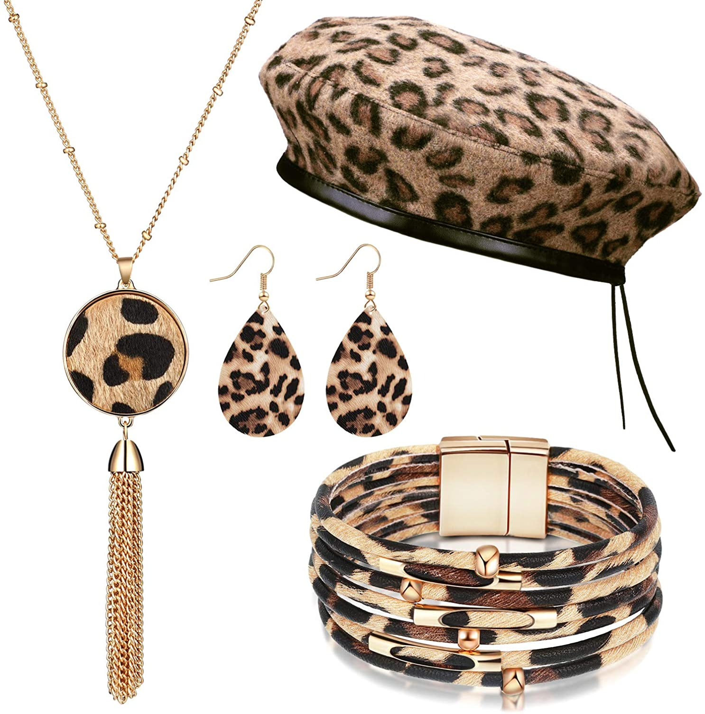 4 Pieces Women Leopard Jewelry Set French Beret Hat Leopard Leather Bracelet Earring Necklace