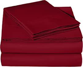 AmazonBasics Microfiber Sheet Set - (Includes 1 bedsheet, 1 Fitted Sheet with Elastic, 2 Pillow Covers) King, Burgundy
