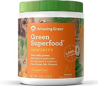 Amazing Grass Green Superfood Immunity: Organic Vitamin C (1,000mg), Mushrooms and 7 Greens, 1 Full Serving of Fruits and Veggies per Scoop, Tangerine Flavor, 30 Servings