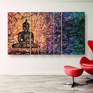 Designer Buddha Modern Art Multiple Frames New Concept Grill Big Size Wall Painting for rooms, office , living room etc wi...