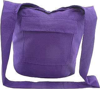 Solid Color Hippie Bag - Thai Monk Crossbody Shoulder Cotton Sling Purse for Men and Women - Thin Lightweight - Medium
