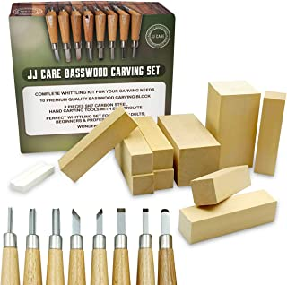 [Premium] Wood Carving Whittling Kit - Woodcarving Set for Beginner, Kids and Adults - 10 Basswood Carving Blocks + 8 Piec...