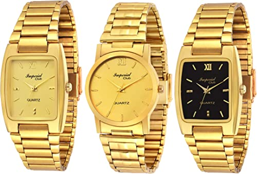 Analogue Men s Watch Gold Black Dial Gold Colored Strap Pack of 3