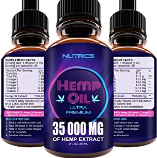 Hemp Oil Drops 35 000 MG, 100% Hemp Extract, Natural Pain Reliever, Supports Anti-Anxiety, Rich in Omega 3, Omega 6, Omega...