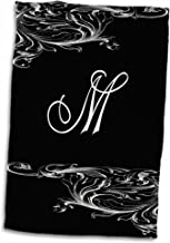 3D Rose Image of Scrolly Victorian Style Letter M Hand Towel, 15 x 22
