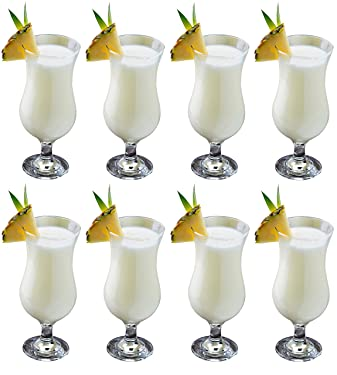 Epure Venezia Collection 8 Piece Hurricane Glass Set - Perfect for Drinking Pina Coladas, Cocktails, Full-Bodied Beer, Juice, and Water (Pina Colada (15.5 oz))