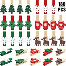 Boao Christmas Wood Clips Christmas Tree Photo Clips Elk Gloves Snowflake Clothespins DIY Photo Pegs for Home School Art C...