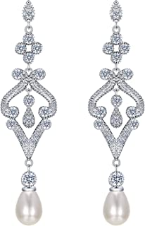 Silver-Tone Pave CZ Cream Simulated Pearl Vintage Style Chandelier Dangle Earrings Clear