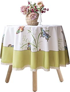 Wewoch Decorative Butterfly Floral Print Polyester Table Cloth Stain Resistant and Spillproof Rectangle Tablecloth for Dinning Room 70 Inch by 70 Inch