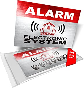 imaggge.com 12 x Security Alarm Warning Sign Stickers - Alarm - Electronic System - for Internal and External use - Protection for Home, car. - Weatherproof - Size: 3,4 x 2,2 in