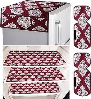 Kuber Industries Flower Design 3 Pieces PVC Fridge Mats,2 Piece Handle Cover and 1 Piece Fridge Top Cover (Maroon) CTKTC33...