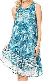 Marlena Women's Swing Sleeveless Tie Dye with Batik Nightgown Dress Cover