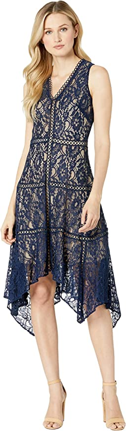 Sleeveless Lace Hankerchief Hem Dress