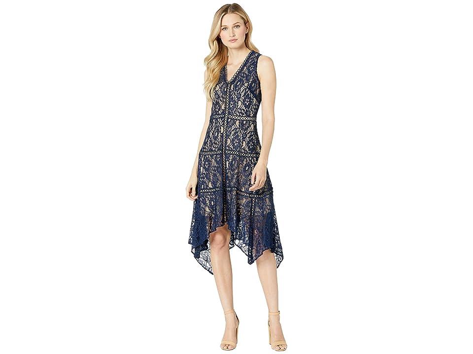 Taylor Sleeveless Lace Hankerchief Hem Dress (Navy) Women