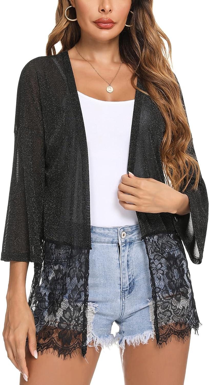 iClosam Women Long Sleeve Open Front Summer Cardigan Sheer Lace Trim Kimono Cover Up
