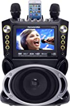 "Karaoke USA GF844 Complete Karaoke System with 2 Microphones, Remote Control, 7"" Color Screen, LED Lights - Works with DVD, Bluetooth, CD, MP3 and All Devices"