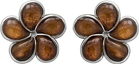 Sterling Silver Koa Wood Plumeria Post Earrings
