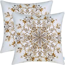 CaliTime Pack of 2 Cozy Fleece Throw Pillow Cases Covers for Couch Bed Sofa Vintage Mandala Snowflake Floral 18 X 18 Inches Sugar Brown Coffee