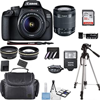 Canon EOS 4000D Digital SLR Camera w/ 18-55MM DC III Lens Kit (Black) with Accessory Bundle, Package Includes: SanDisk 32G...