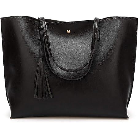 Damen Handtaschen Shopper PU Leder Messenger Bags Einkaufstasche Schwarz