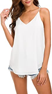 Women's V-Neck Chiffon Adjustable Spaghetti Strap Cami Top