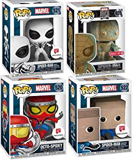 The One and Only Spider-Man Variations Pop! Marvel Superheroes Web Slinger Bundled Exclusive Bronze Look + Spider-Man (Bombastic Paper Bag-Man) + Octo-Spidey & Future Foundation White Suit 4 Items