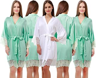 185b3333c1 GoldOath Women s Best Cotton Robes Set of 5 for Perfect Wedding Party with  Lace Trim