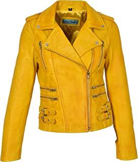 HOL Womens Real Leather Biker Motorcycle Style Fitted Cross Zip Jacket Cara Yellow