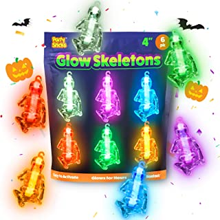 "PartySticks 6pk Glow Skeletons Halloween Party Supplies – 4"" Glow in The Dark Halloween Skeleton Decorations w/ 6 Mini Glow Sticks and 6 Hanging Strings"