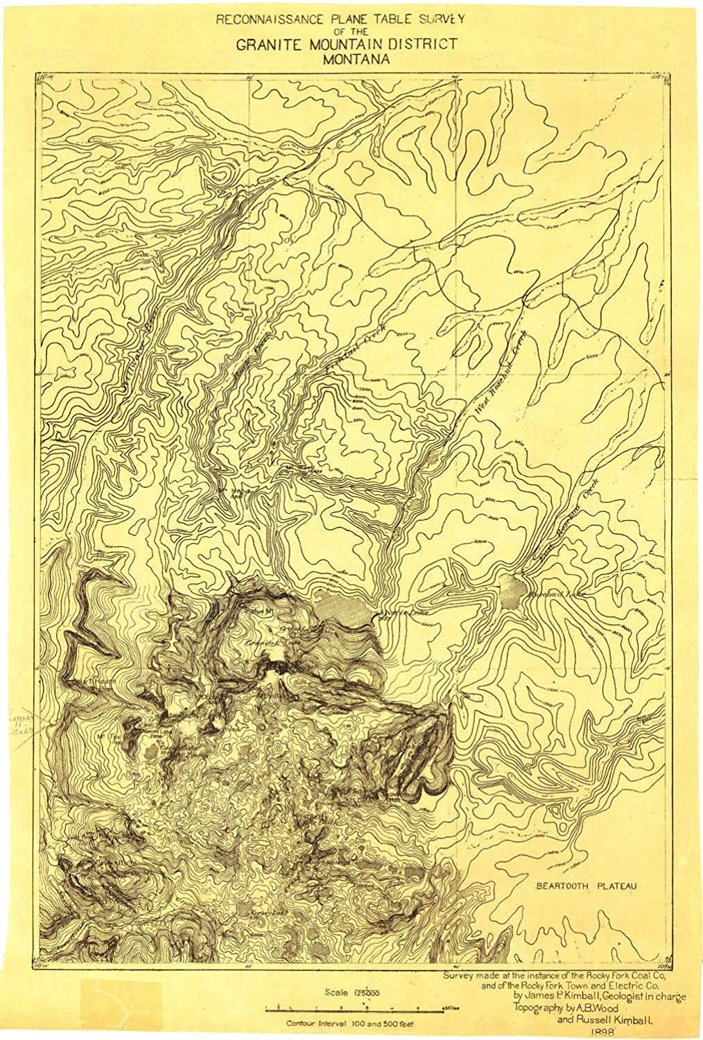 Granite Mountain District MT topo map, 1 125000 Scale, 30 X 30 Minute, Historical, 1898, 20.7 x 13.9 in