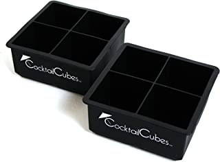Cocktail Cube Extra Large Ice Cube Silicone Trays - 2.5 inches - Whiskey Drinks - Freeze Food - Soap Making Molds - Black - 2 Trays