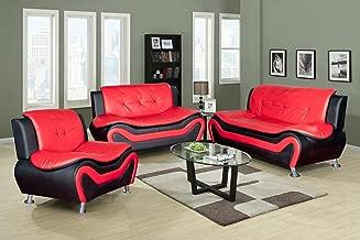 Beverly Fine Furniture Aldo ((3 Piece) Modern Sofa Set, Black/Red