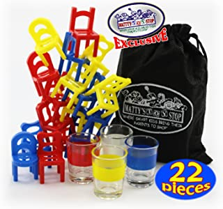 Matty's Toy Stop Drunken Chairs Deluxe Chairs Stack & Balance Drinking Game with Exclusive Storage Bag