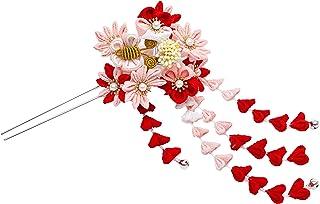 [ 錦 ] 和装 髪飾 つまみ細工 髪飾り 和装小物 赤 ピンク色 七五三 成人式 卒業式 浴衣 簪 鈴付 L-001...