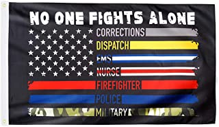 XIFAN No One Fights Alone Flag Heavyweight 2X Thick US American Flag First Responders Multi Thin Line 100D Polyester Flag ...